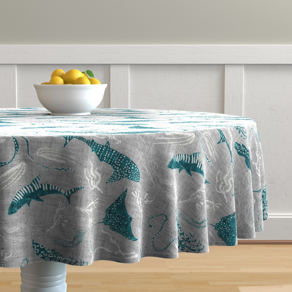 Malay Round Tablecloth featuring Terra Australis  Deadly Waters (silver) LARGE by nouveau_bohemian