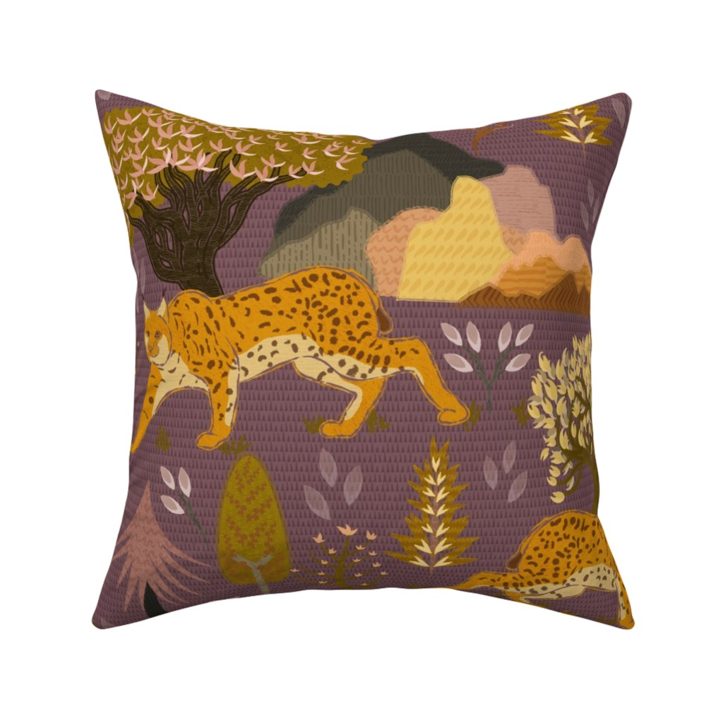Catalan Throw Pillow featuring Iberian lynx by another_village