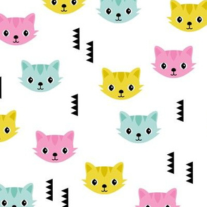 Cute kitten cat illustration in colorful summer palette with geometric details for kids girls