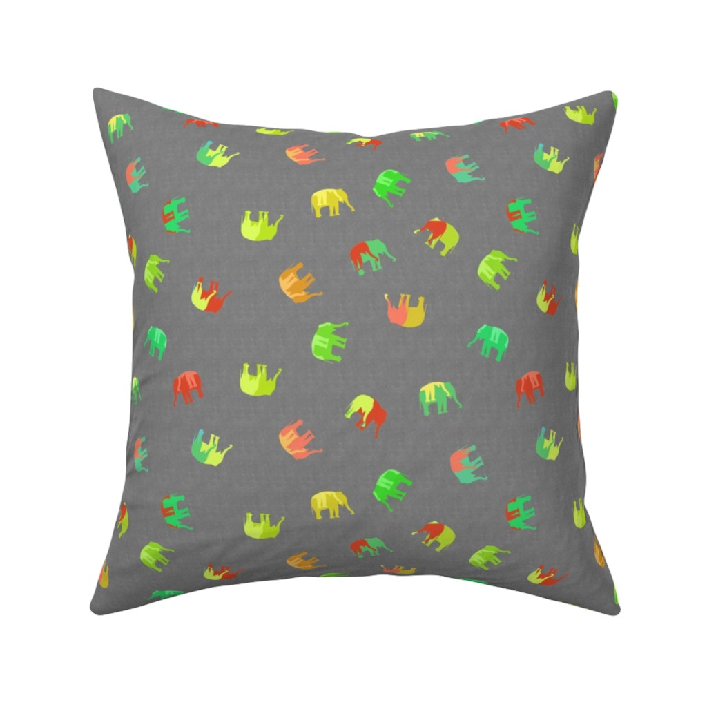 Catalan Throw Pillow featuring multicolored elephant silhouette by variable