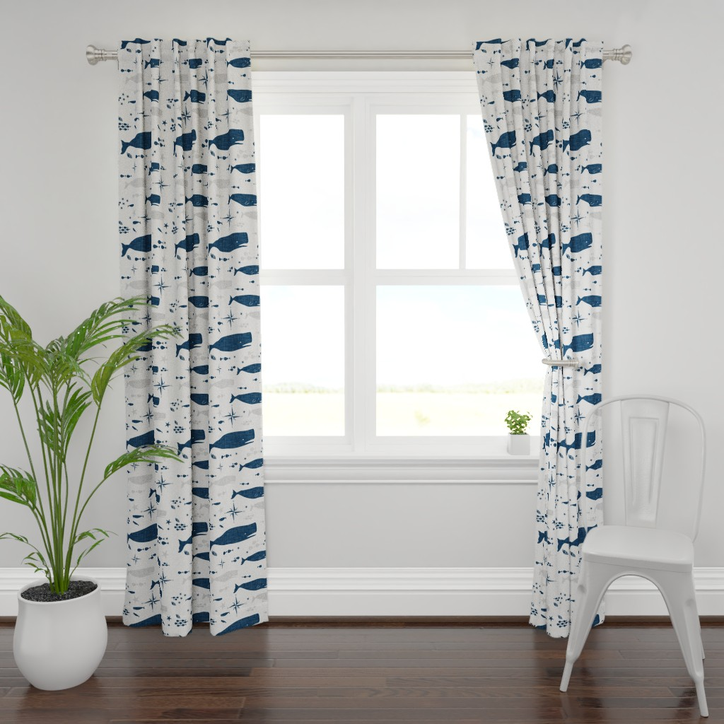 Plymouth Curtain Panel featuring Sperm Whale by bruxamagica
