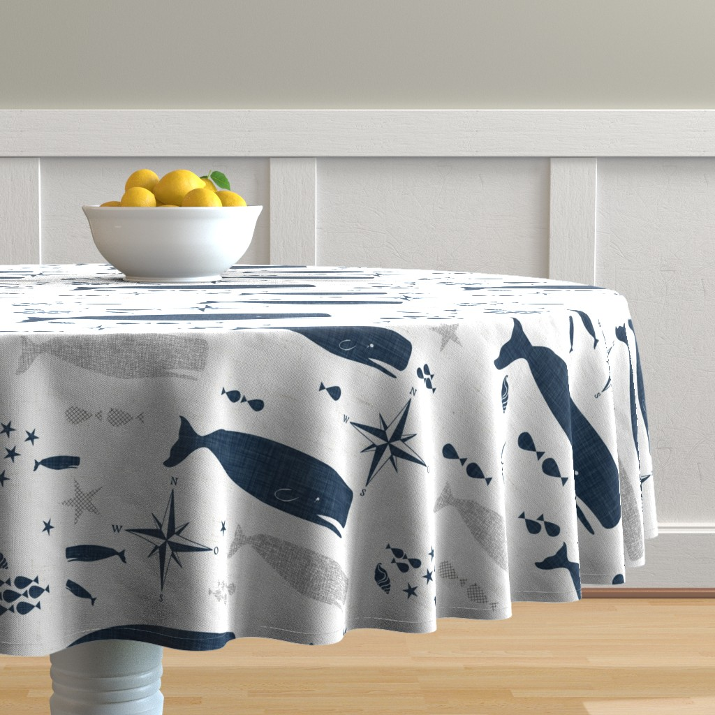 Malay Round Tablecloth featuring Sperm Whale by bruxamagica