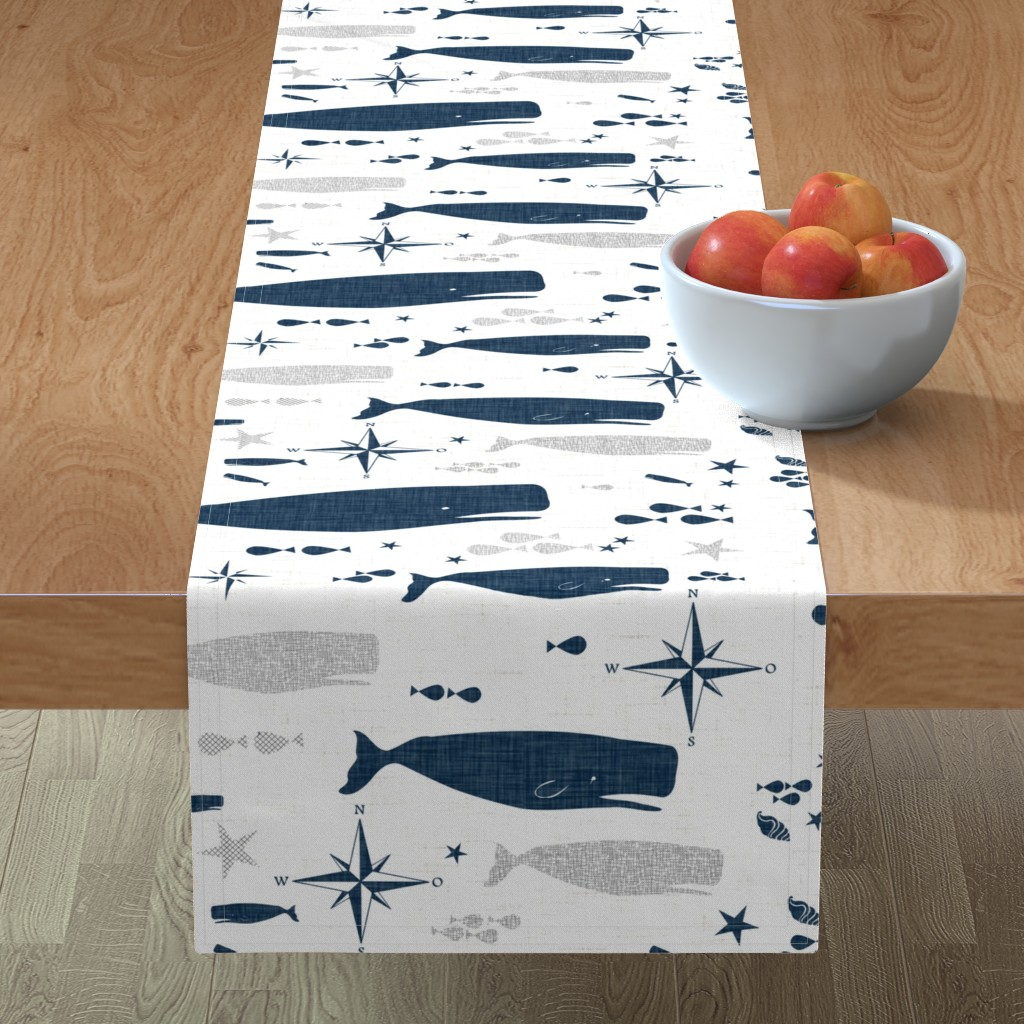 Minorca Table Runner featuring Sperm Whale by bruxamagica