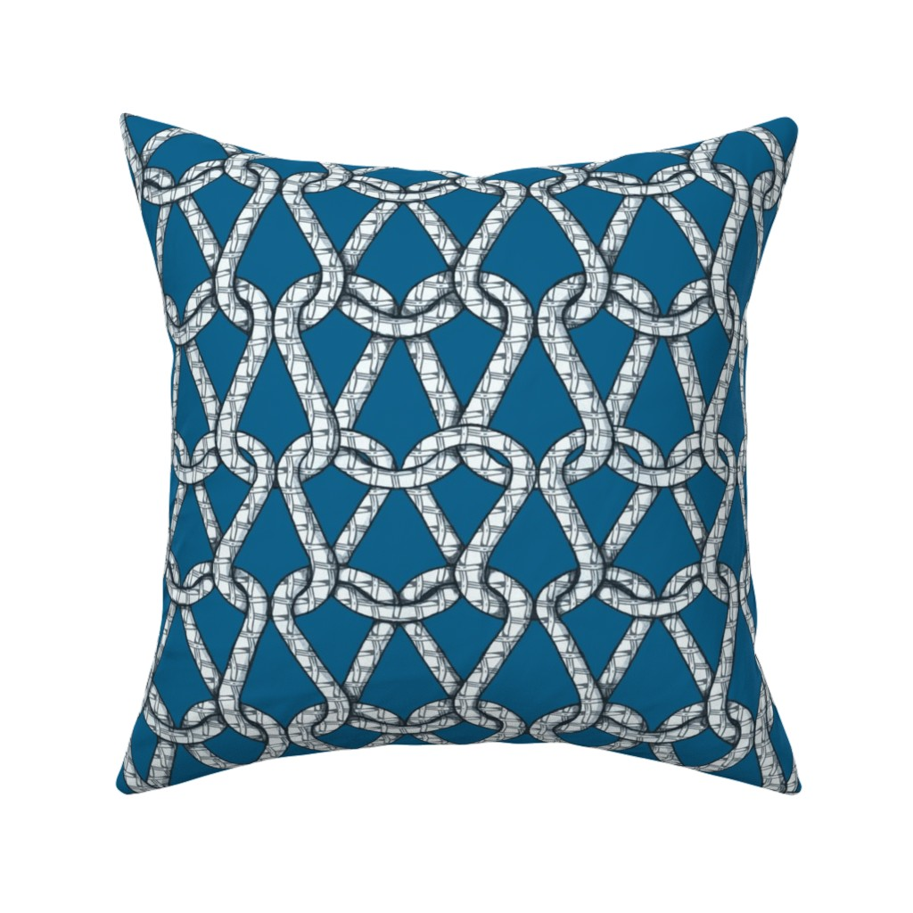 Catalan Throw Pillow featuring endless knots (light blue white)50  by chicca_besso