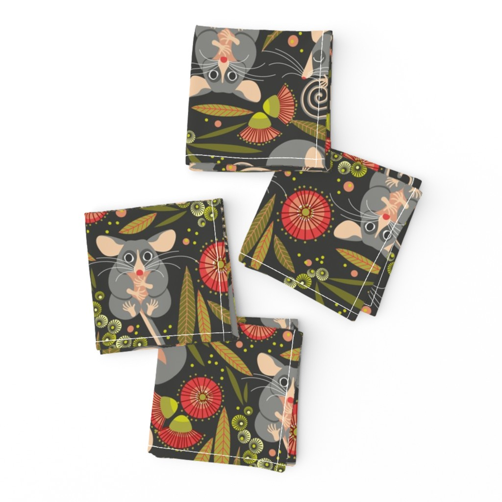 Frizzle Cocktail Napkins featuring Australian Mountain Pygmy Possum by cjldesigns