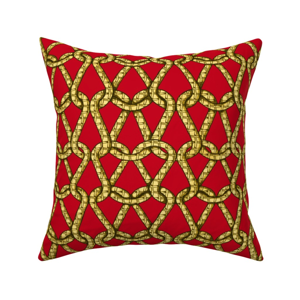 Catalan Throw Pillow featuring endless knots (red  yellow)50  by chicca_besso