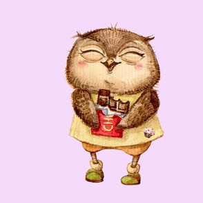 Cute  Owl with Chocolate bar  Pillow Pink