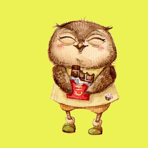 Cute  Owl with Chocolate bar  Pillow Yellow
