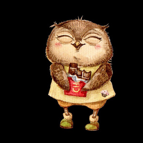 Cute  Owl with Chocolate bar  Pillow  Black