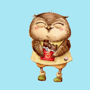 Cute  Owl with Chocolate bar  Pillow  Blue