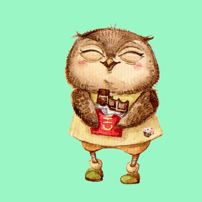 Cute  Owl with Chocolate bar  Pillow  Green