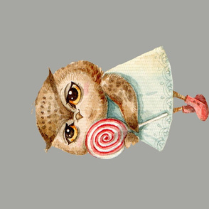 Cute  Owl with Lollipop  Pillow  gray