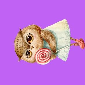 Cute  Owl with Lollipop  Pillow  Magenta