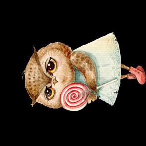 Cute  Owl with Lollipop  Pillow  black