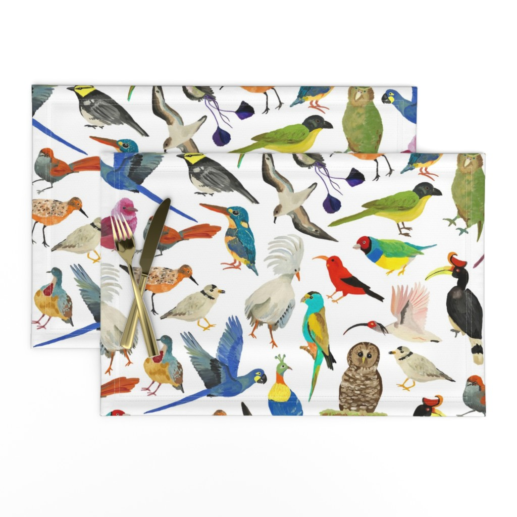 Lamona Cloth Placemats featuring Endangered Birds Around the World by dasbrooklyn