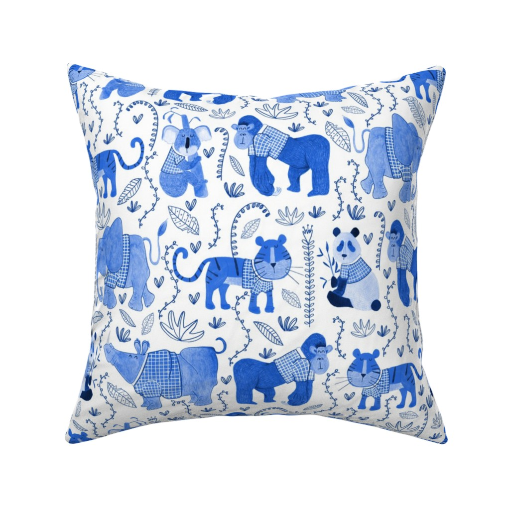 Catalan Throw Pillow featuring Pattern #80 - Endangered animals in shirts by irenesilvino