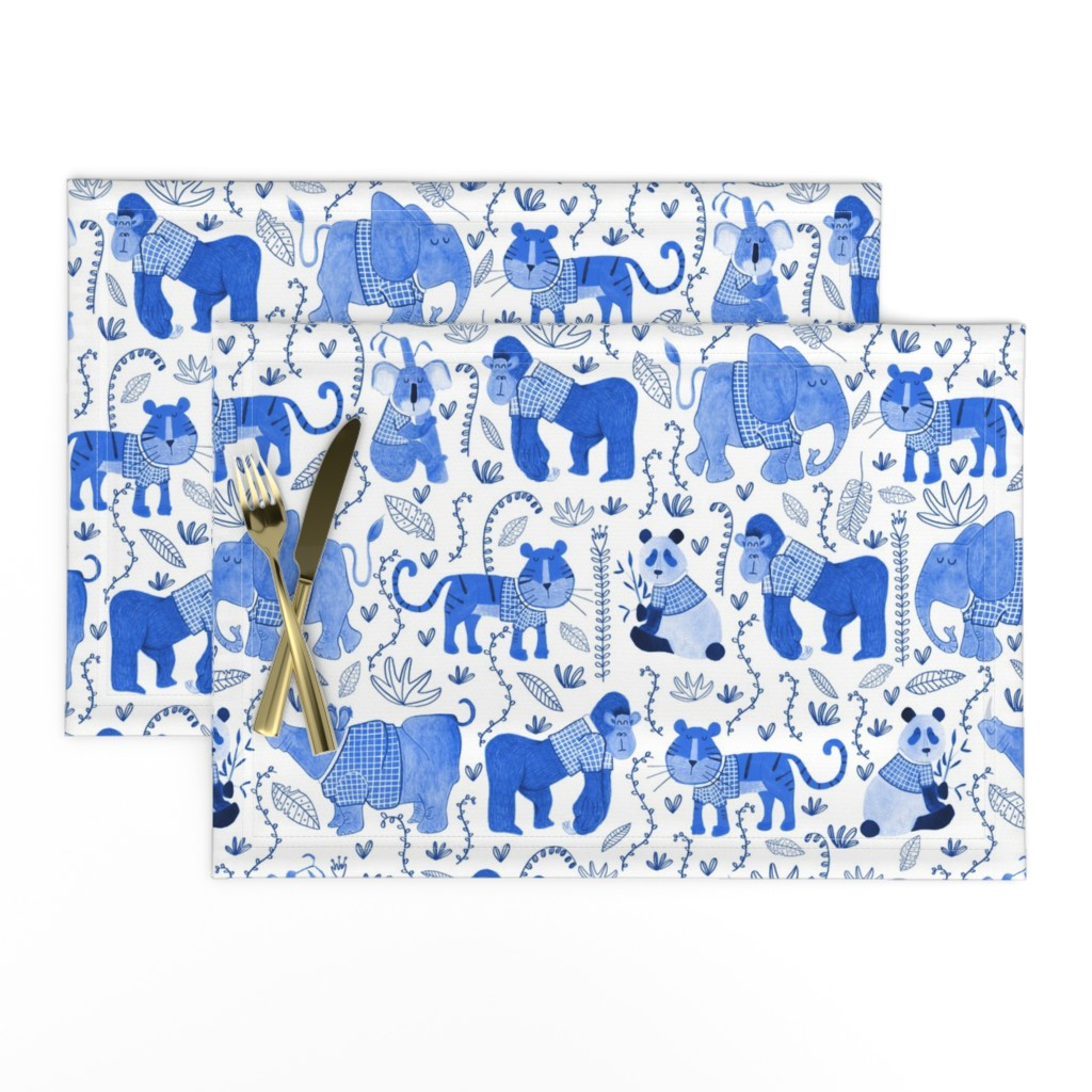 Lamona Cloth Placemats featuring Pattern #80 - Endangered animals in shirts by irenesilvino