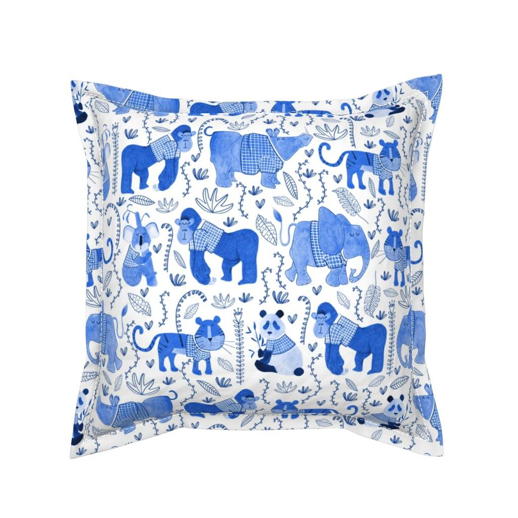 Serama Throw Pillow featuring Pattern #80 - Endangered animals in shirts by irenesilvino