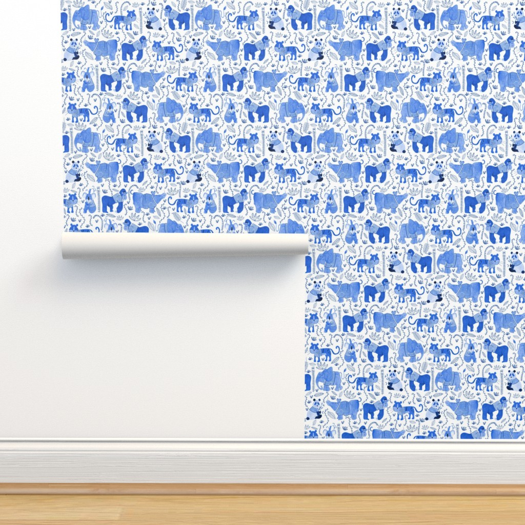 Isobar Durable Wallpaper featuring Pattern #80 - Endangered animals in shirts by irenesilvino