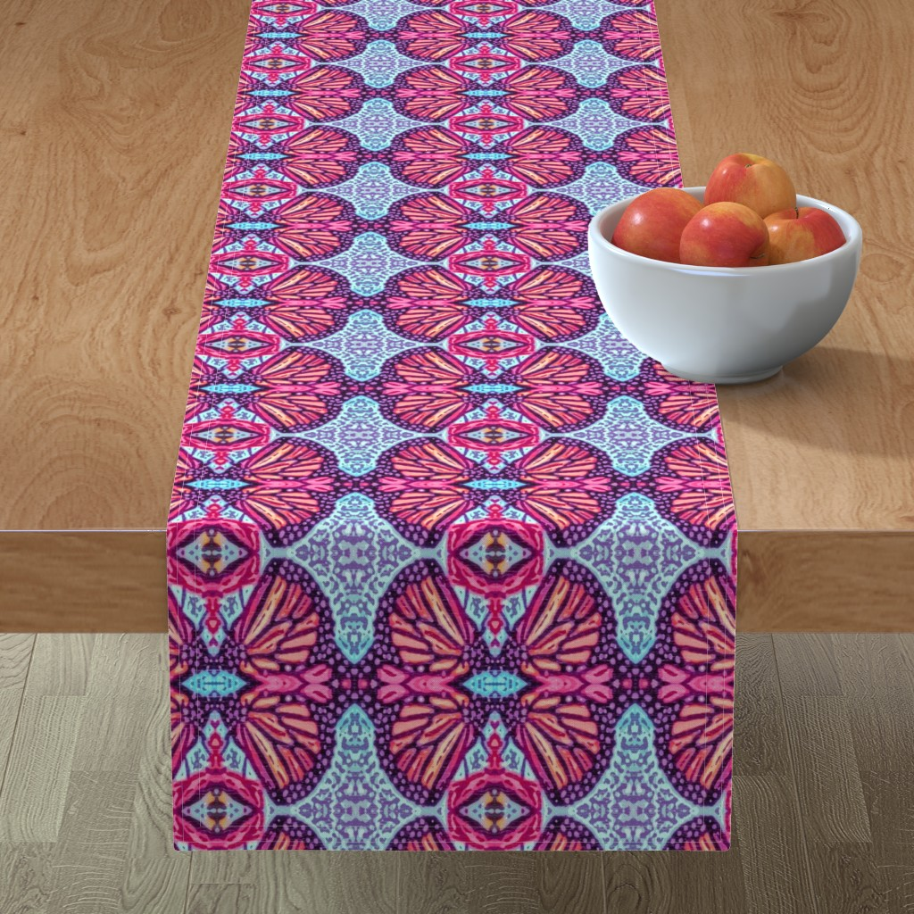 Minorca Table Runner featuring Woodcut Monarch Butterfly Damask by palifino