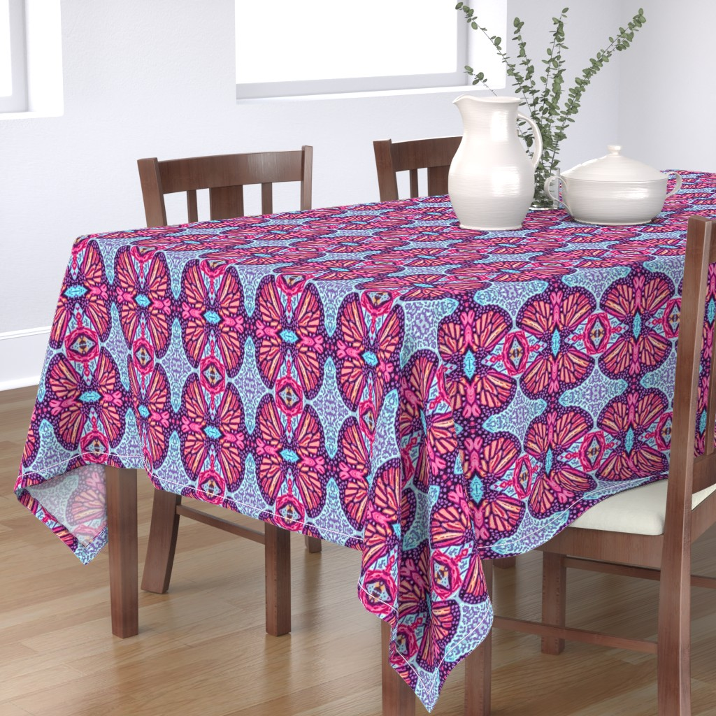 Bantam Rectangular Tablecloth featuring Woodcut Monarch Butterfly Damask by palifino