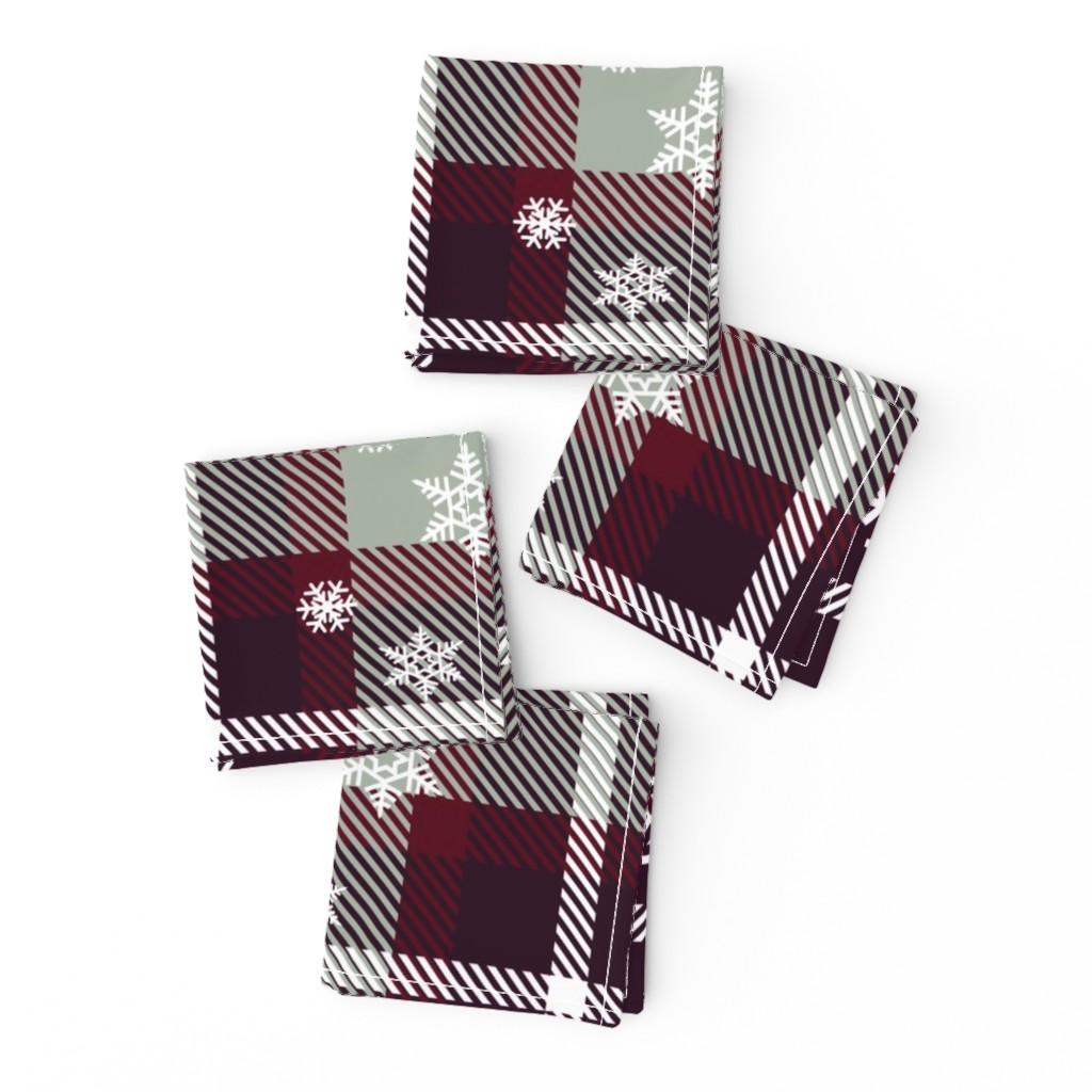 Frizzle Cocktail Napkins featuring Snowflake plaid by krystalsavage