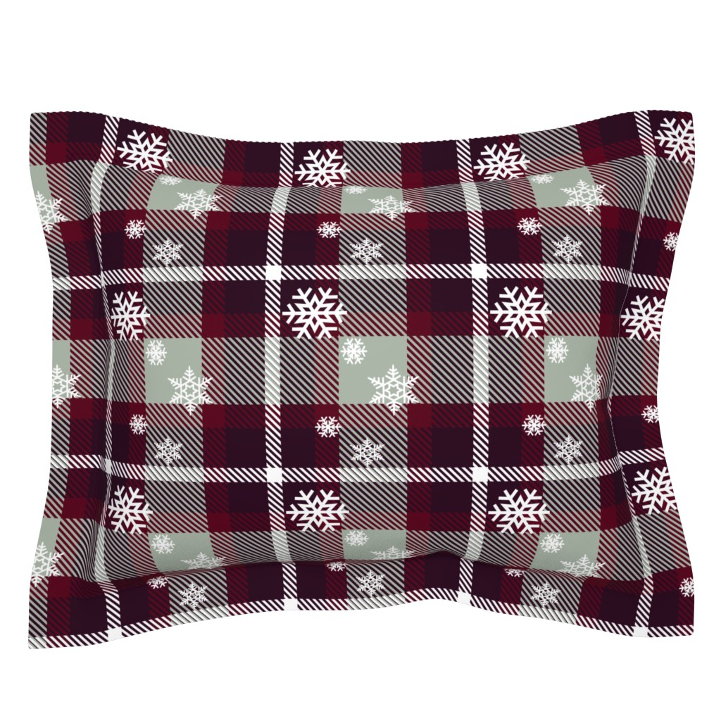 Sebright Pillow Sham featuring Snowflake plaid by krystalsavage
