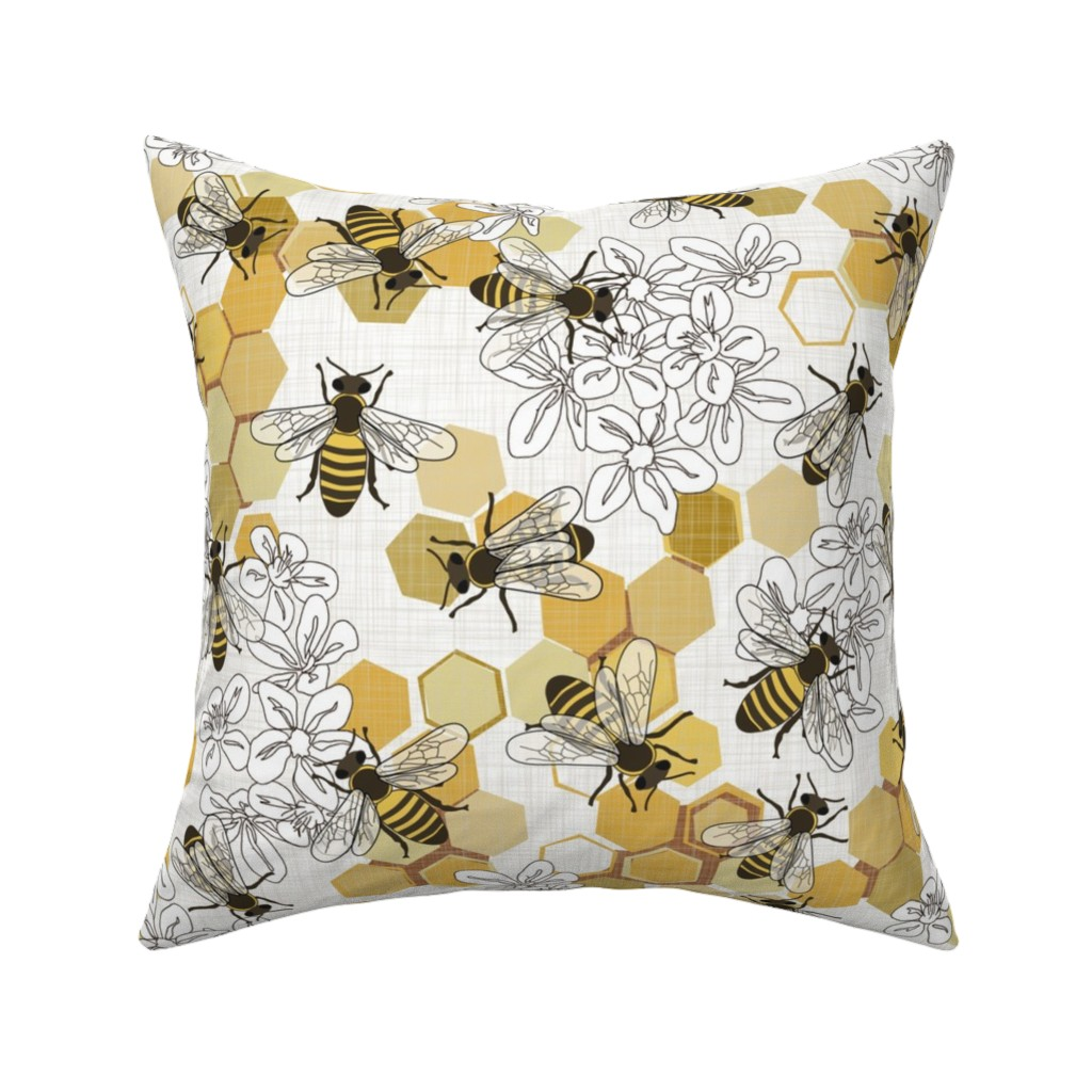 Catalan Throw Pillow featuring Save The Honey Bees - Large - New by fernlesliestudio