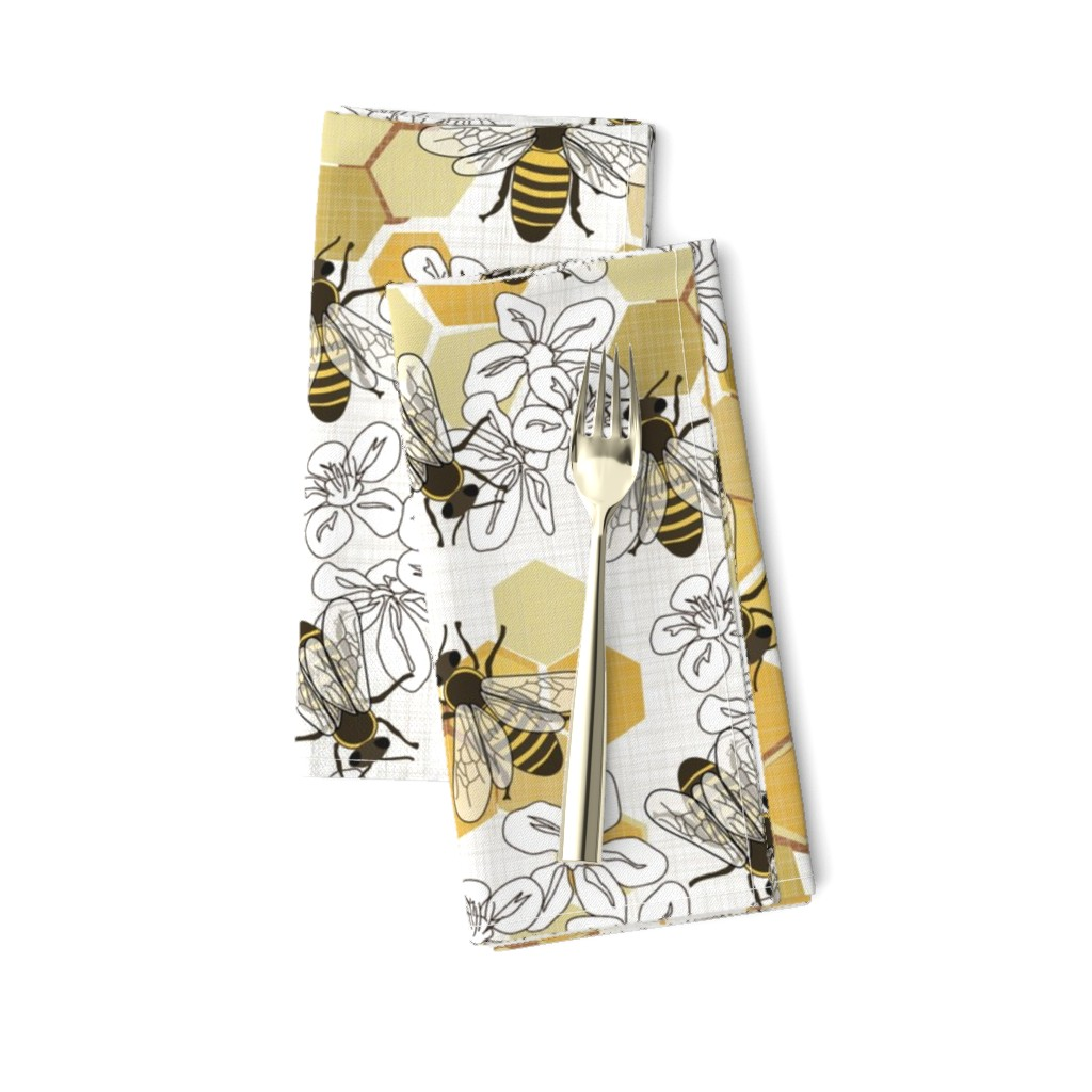 Amarela Dinner Napkins featuring Save The Honey Bees - New by fernlesliestudio