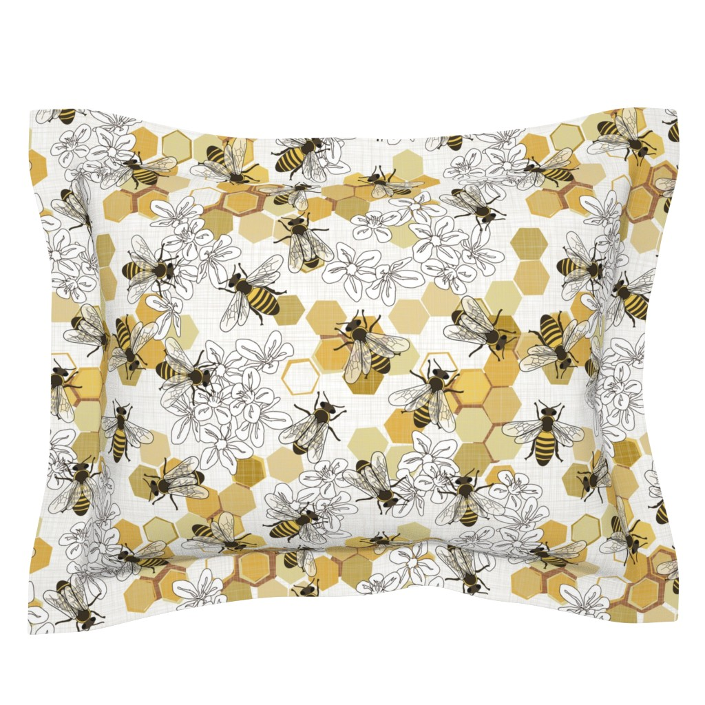 Sebright Pillow Sham featuring Save The Honey Bees - New by fernlesliestudio