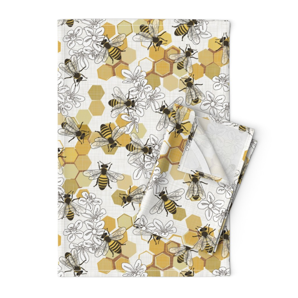 Orpington Tea Towels featuring Save The Honey Bees - New by fernlesliestudio