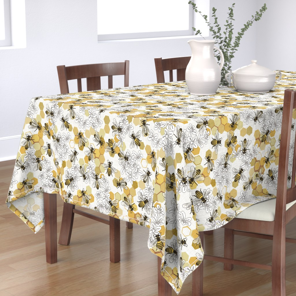 Bantam Rectangular Tablecloth featuring Save The Honey Bees - New by fernlesliestudio