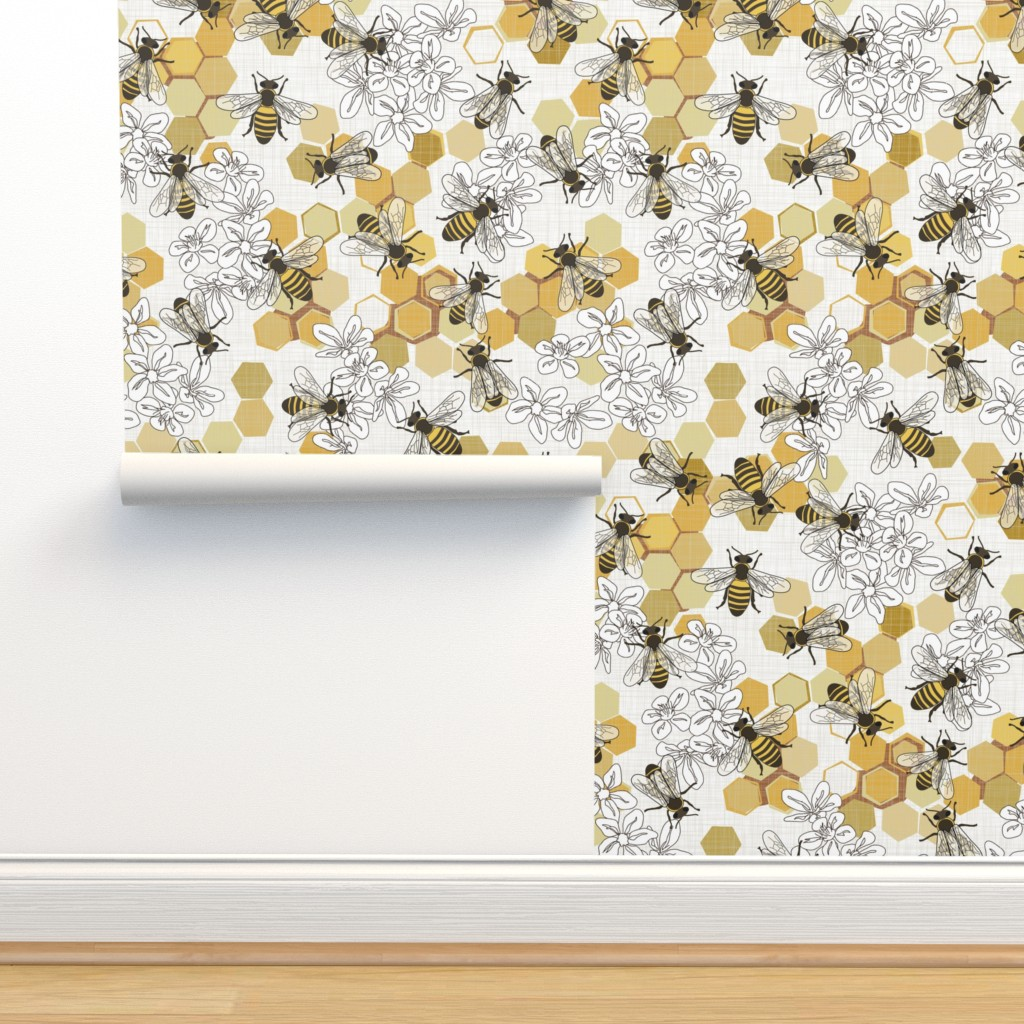 Isobar Durable Wallpaper featuring Save The Honey Bees - New by fernlesliestudio