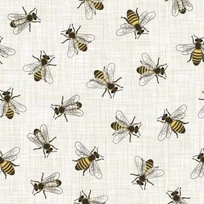 Honey Bees - Mixed Linen - Linen Background