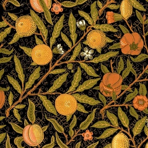 Fruit ~ William Morris ~ Citrus on Black