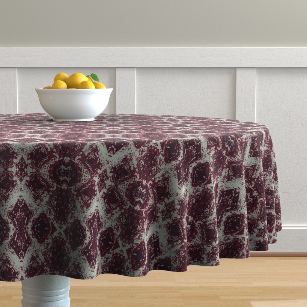 Malay Round Tablecloth featuring Elegant Holiday Ikat with a limited palette by lisakling