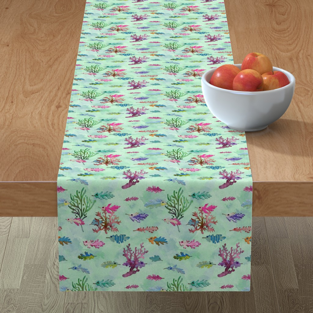Minorca Table Runner featuring oak leaf fish  by poolofblue