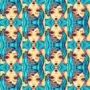 Turquoise-haired siren portrait