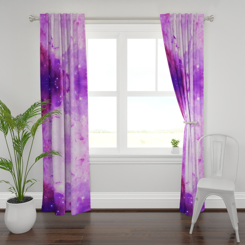 Plymouth Curtain Panel featuring purple galaxy by aspie_giraffe