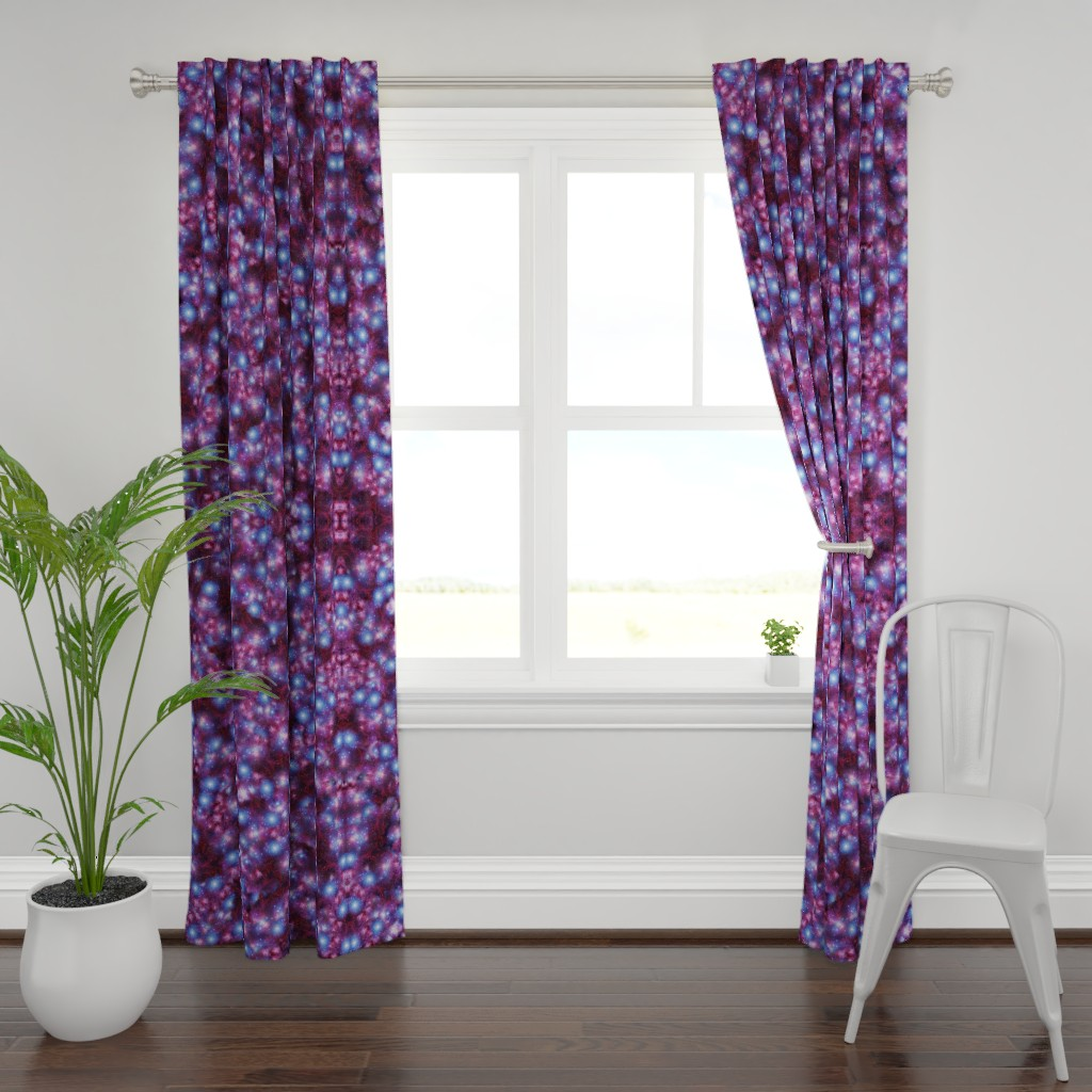 Plymouth Curtain Panel featuring purple galaxy plaid  by aspie_giraffe