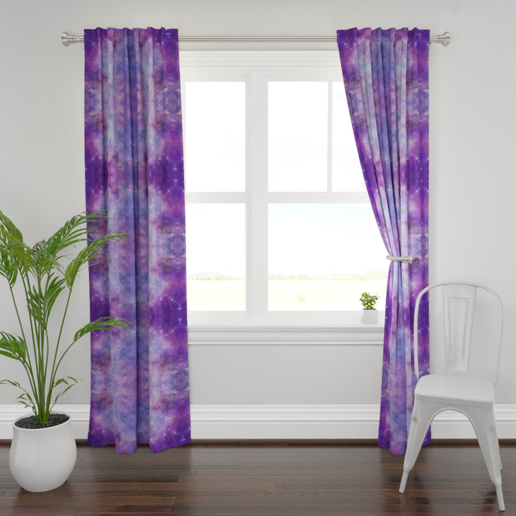 Plymouth Curtain Panel featuring purple galaxy geo  by aspie_giraffe