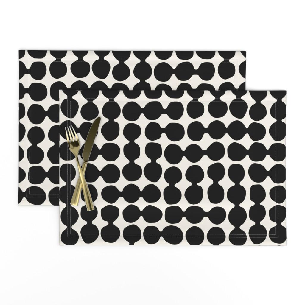 Lamona Cloth Placemats featuring Sea-worn Pebbles, jet black, white, cream by mapmapart
