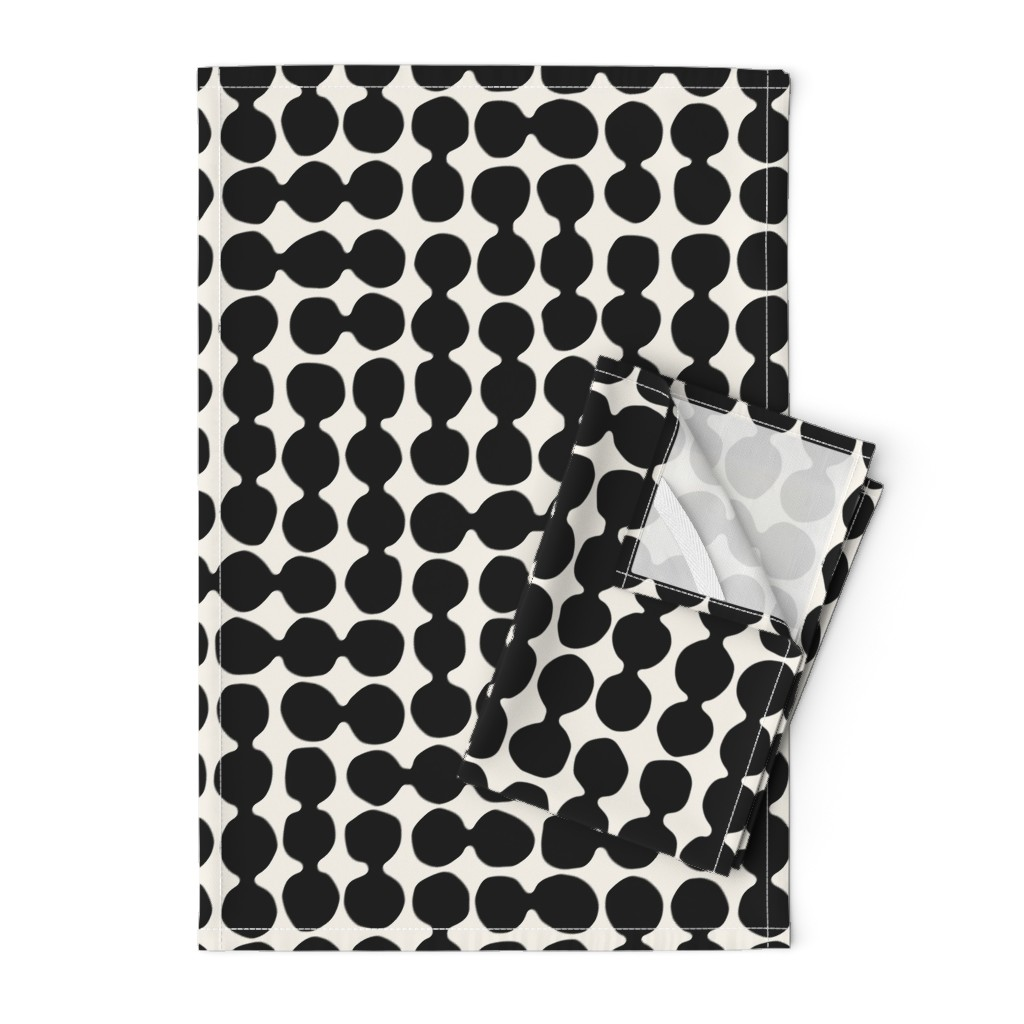 Orpington Tea Towels featuring Sea-worn Pebbles, jet black, white, cream by mapmapart