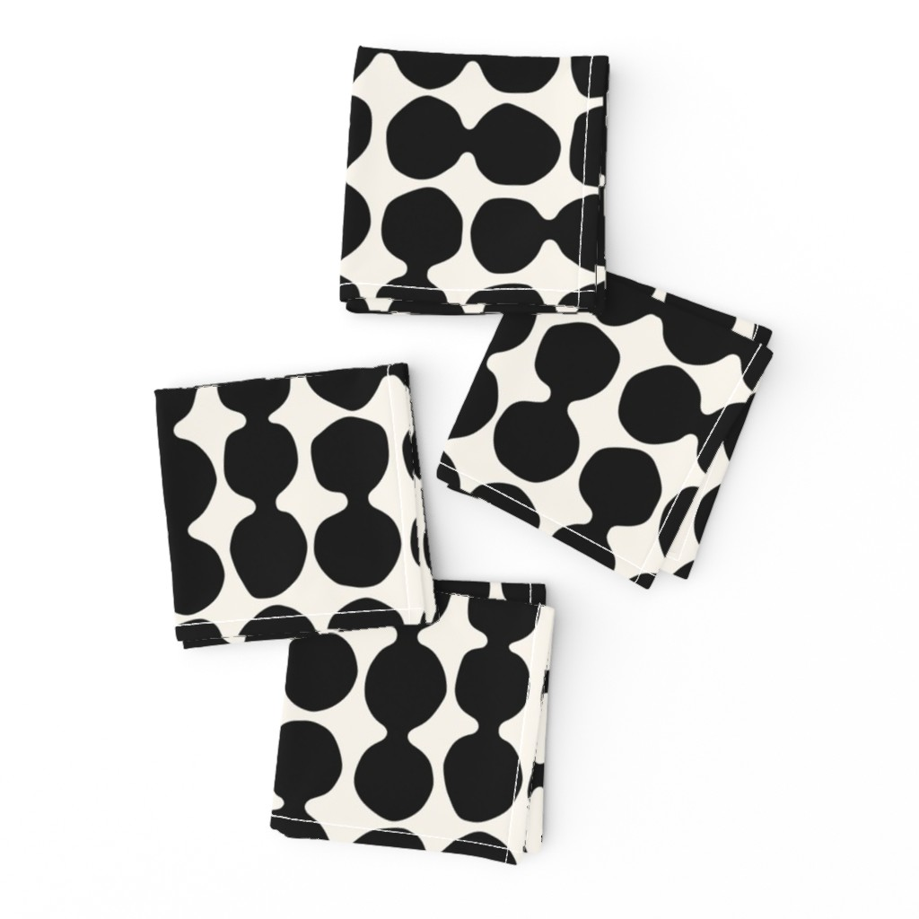 Frizzle Cocktail Napkins featuring Sea-worn Pebbles, jet black, white, cream by mapmapart