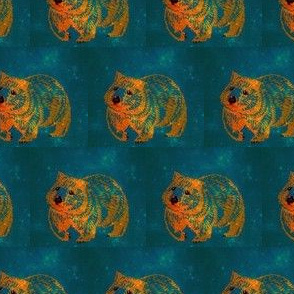 The Constellation Wombat trot-OrangeOnTeal-Lighter