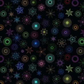Neon gear-drawn spirals