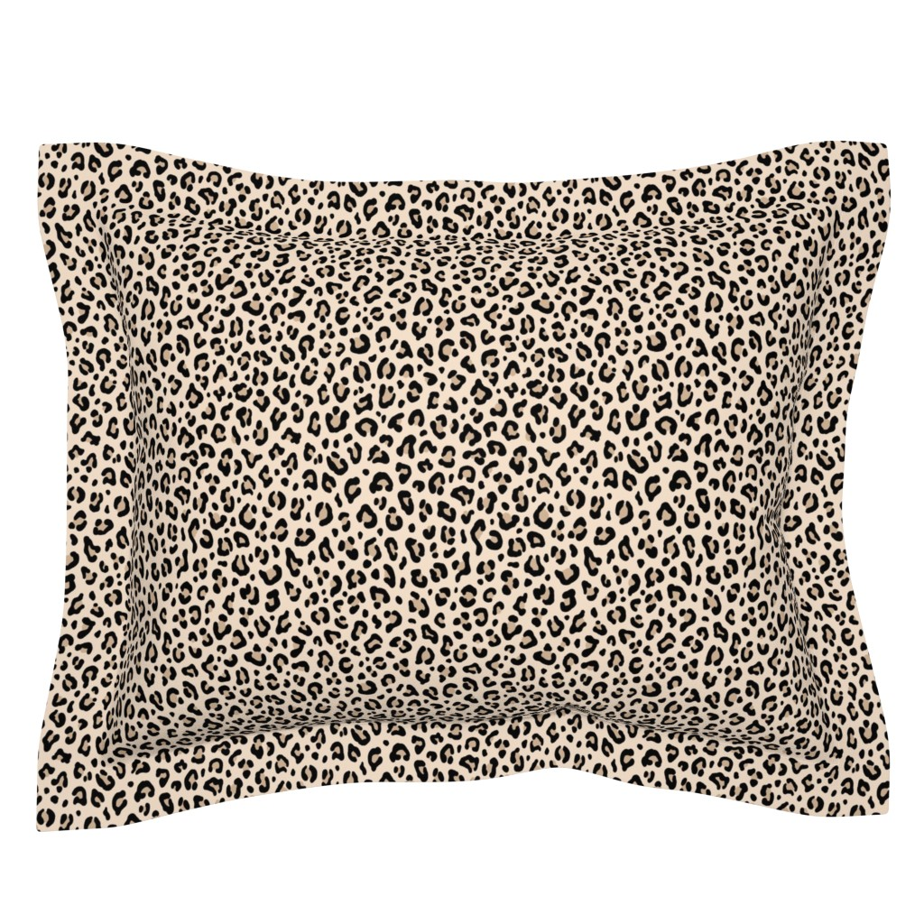 Sebright Pillow Sham featuring ★ BLACK and WHITE LEOPARD - LEOPARD PRINT in ECRU ★ Small Scale / Collection : Leopard spots – Punk Rock Animal Print by borderlines