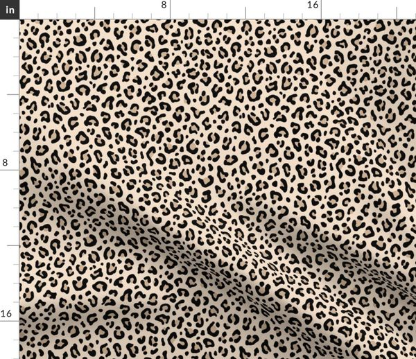 Fabric By The Yard Black And White Leopard Print In Ecru Small Scale Collection Spots Punk Rock Animal