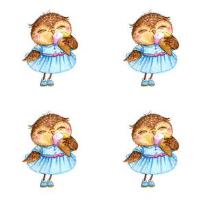 Cute Owl with Ice Cream
