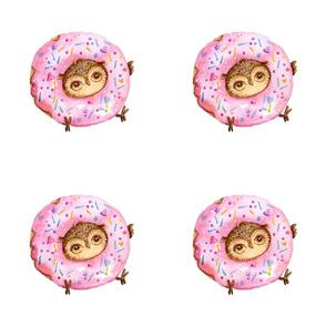 Cute Owl With Doughnuts